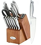 Marco Almond KYA26 Knife Sets, 14 Pieces High Carbon Stainless Steel Kitchen Knife Set in Hardwood Block,Single Piece Forged Hollow Handle Self Sharpening Cutlery Knives Set, Best Gift, Cherry