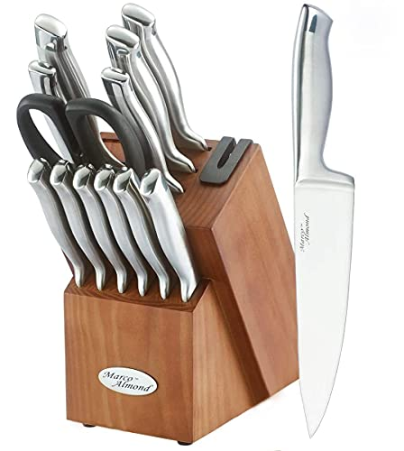 Marco Almond KYA26 Knife Sets, 14 Pieces High Carbon Stainless Steel...