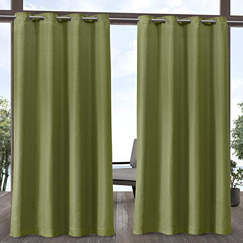 Exclusive Home Curtains Aztec Indoor/Outdoor Curtain Panel, 54x120, Kiwi Green, 2 Panels