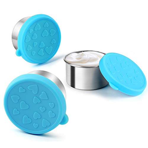 FANGSUN Dressing Containers to Go for Condiments, Salad Dressing, Dips, Snacks, Stainless Steel Dipping Sauce Cups, Fits in Bento Box for Lunch, Mini Food Storage Containers with Lid (Blue)