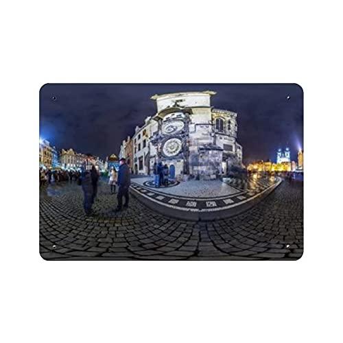 Reloj astronómico de Praga, pintura de naturaleza nocturna, decoración vintage para el hogar, letrero de arte de pared de 11.8 'x7.9', decoración de pared de café familiar, pintura de arte retro, car