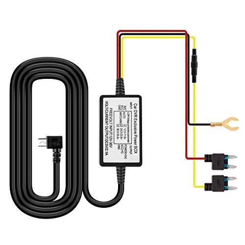 HOFOUND Dash Cam Hardwire Kit Mini USB Harter Draht Auto Ladegerät Kabelsatz 12V-24V auf DC5V Dashcam Sicherungshalter Niederspannungsschutz Sicherung Kit für Mini USB Dash Kamera