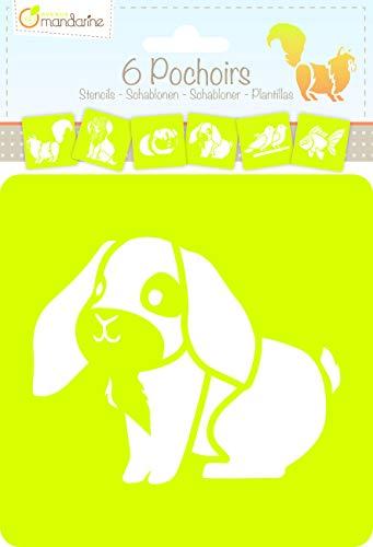 Avenue Mandarine 42445MD Set (mit 6 Schablonen, 15 x 15 cm, geeignet für Kinder ab 3 Jahre, für Filz- und Farbstifte, Farben oder Farbbomben, Haustiere) 6er Pack