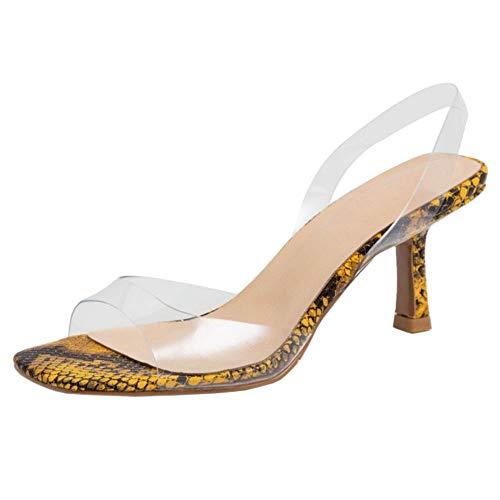 Lydee Mujer Moda Zapatos Verano Kitten Heels Slip On Transparent Sandalias Peep Toe Noche Partido Zapatos Slingback Snake Yellow Talla 35