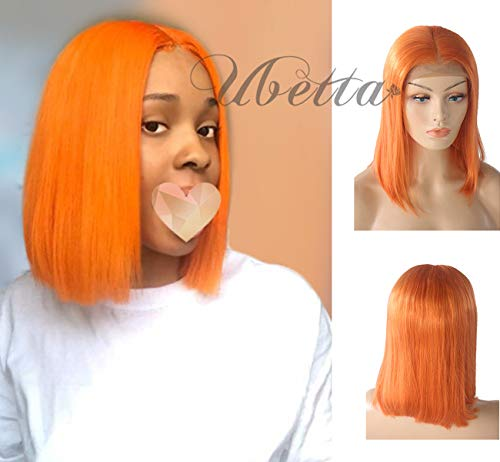 Lace Front Human Hair Bob Wig Pre Plucked with Baby Hair 8' Glueless 13x4 Lace Wig Brazilian Virgin Hair Short Straight Orange Bob Middle Part Bleached Knots Natural Hairline for Women 180% Density