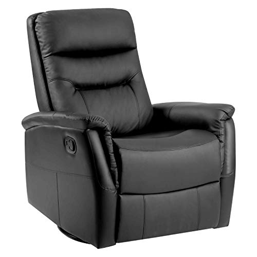 Blanketswarm 360° Home Swivel Luxury Bonded Leather Pull Recliner Sofa Chair Living Room Chair Armchair Rocking Chair Lounge Chair-Black