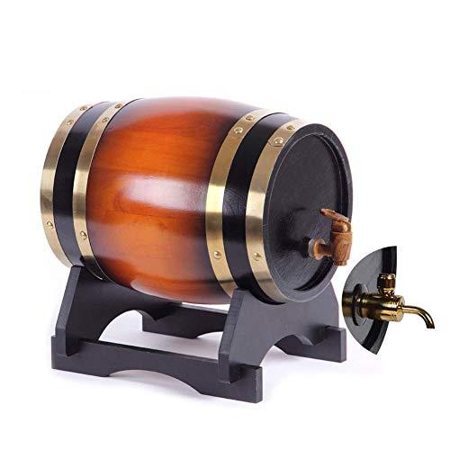 GYC Revestimiento de Papel de Aluminio incrustado en Barril de Roble con Grifo de Metal, dispensador de Barril de Vino de Madera de Roble Vintage con Soporte de Madera, para Barril de Vino de Whisky