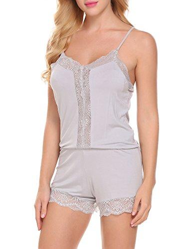 ADOME Damen Jumpsuit Overall Bodysuit Spaghettiträger Spitze Pyjama Schlafanzug Gummiband Taille