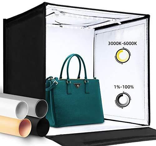amzdeal - Caja de luz para fotografía (40 x 40 cm, con 4 fondos de colores