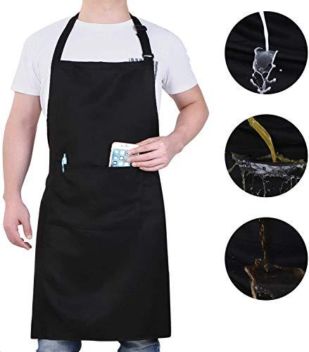 innotree 2 Stück wasserdichte Schürze, verstellbare Kochschürze mit 2 Taschen für Frauen Männer Chef, Bequeme Latzschürze Küchenschürze Grillschürze, Schwarz
