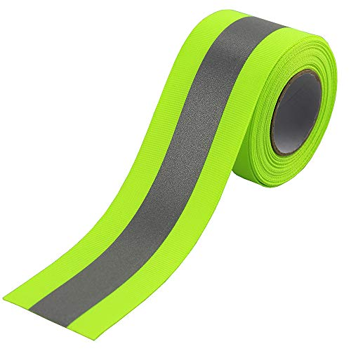 JINBING Silver Sew On Reflective Tape for Chothing Safety Fabric Webbing Trim Strip Green 2' x 16ft