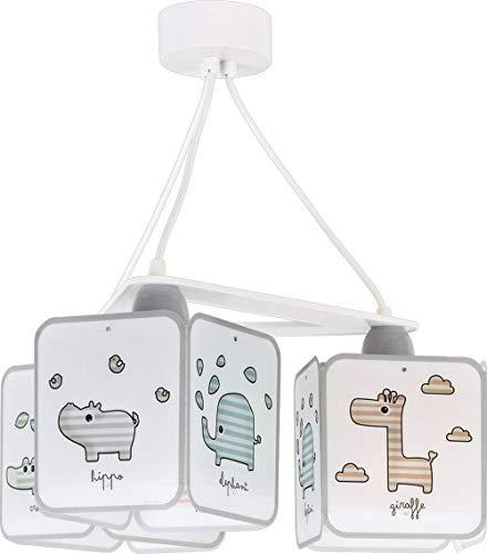 Dalber Little Lámpara Infantil de Techo de 3 Luces Baby Zoo Animales, 60 W, Multicolor