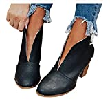 NOLDARES Boots for Women Low Heel V Cutout Ankle Boots Leather Winter Warm Stacked Chunky Heel Short Booties
