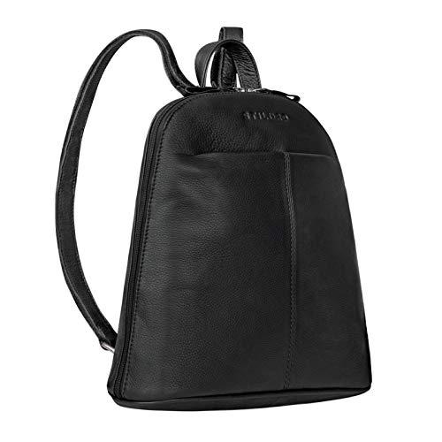 STILORD 'Olivia' City Rucksack Damen Leder Daypack Kleiner Lederrucksack Rucksackhandtasche zum Ausgehen für 9,7 Zoll iPads und 10,1 Zoll Tablets echtes Leder, Farbe:schwarz