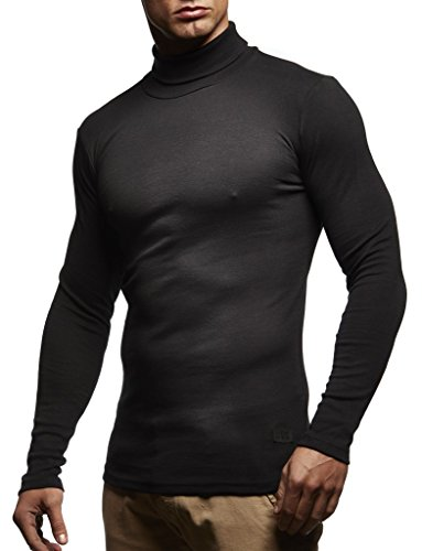 Leif Nelson Herren Rollkragenpullover Pullover Rollkragen Hoodie Slim Fit (Schwarz; Medium)