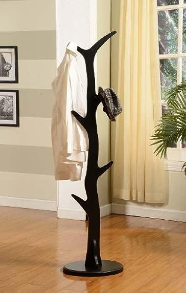 King S Brand Furniture Wood Hall Tree Coat Rack Stand Black Finish
