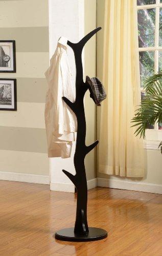 King's Brand Furniture - Wood Hall Tree Coat Rack Stand, Black Finish