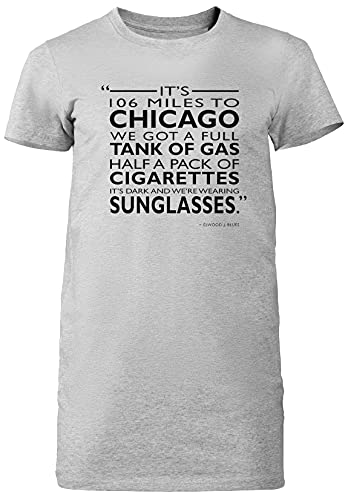 Its 106 Miles To Chicago Gris Mujer Vestido Largo Camiseta Tamaño S Grey Dress Long Women's tee Size Size S