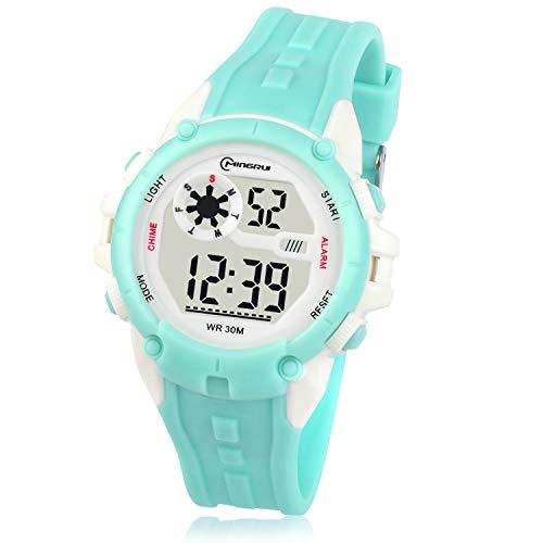 Kinderuhren Digital für Jungen Mädchen, Kinder Armbanduhr Wasserdicht Sport Outdoor Multifunktionale Uhren mit Alarm/Stoppuhr Geeignet für Kinder von 5 bis 14 Jahren(Grün)