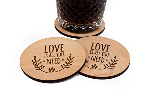 """Unfinished Wedding Coasters - Love Is All You Need - 4 3.5"""" Round Engraved Birch Wood Table Decor"""
