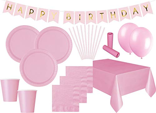 XXL 85 Teile Party Deko Set Baby Rosa für 16 Personen
