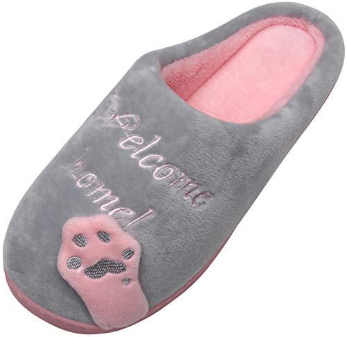 Mishansha Mujer Zapatillas de Casa Hombre Zapatillas de Estar de Invierno Cálido Felpa Dibujos Animados Gato Antideslizante Pantuflas, Cat-Gris, 37/38 EU=38/39 CN
