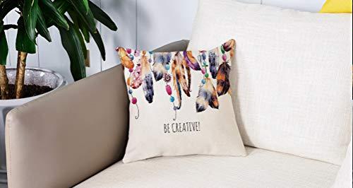 Pillow Case Cojín Cuadrado Print,Decoración de perlas, Be Creative Quote Plumas con...