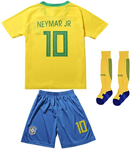 FCB 2018 Brazil #10 Home Yellow Kids Soccer Football Jersey Gift Set Youth Sizes (Yellow, 6-7 Years)