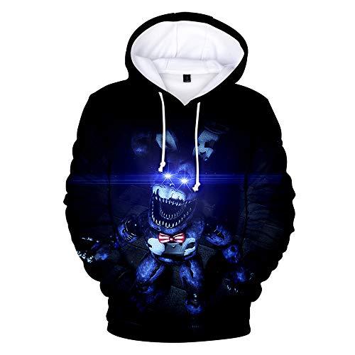 Five Nights at Freddy's Hoodie, 3D-gedruckte FNAF-Kapuzenpullover Pullover Hoodie Verrückte Spiele Comic-Print Kordelzug Sweatshirt Jacke Langarm für Kinder Erwachsene