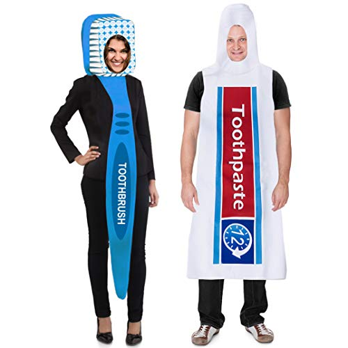 Couple's toothpaste and toothbrush costume that won't break the bank