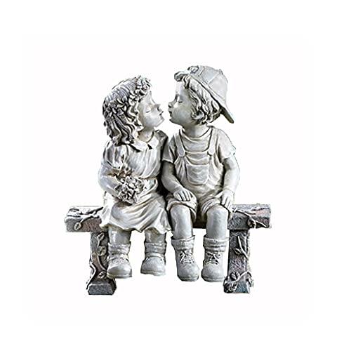 Reooly Jungen und Mädchen küssen Erinnerungen an erste Liebesfiguren Dekoration Gartenstatue Ornamente Ornamente