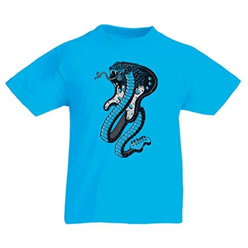 lepni.me Camiseta para Niño/Niña Guitarra eléctrica Serpiente Cobra, Amante del Rock and...
