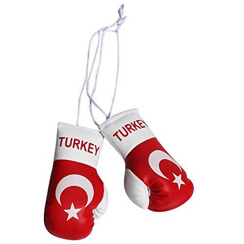Mini Boxhandschuhe für Auto oder Zuhause mit Türkei Flagge