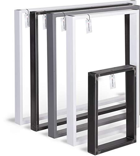 HOLZBRINK Tischkufen aus Vierkantprofilen 60x20 mm, Tischgestell 50x72 cm, Anthrazitgrau, 1 Stück, HLT-01-E-II-7016