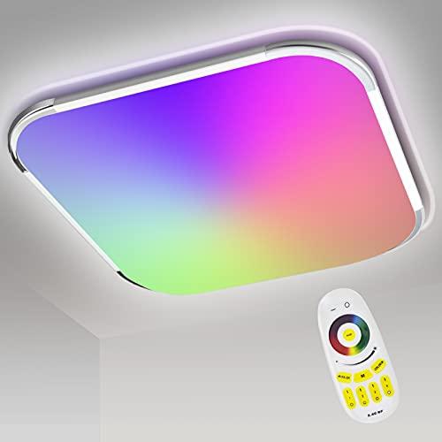 Hengda Lámpara de techo LED RGB 24 W, regulable, cambio color RGB, temperatura ajustable, lámpara con mando a distancia, 2160 lm, salón para baño, dormitorio, cocina, IP44