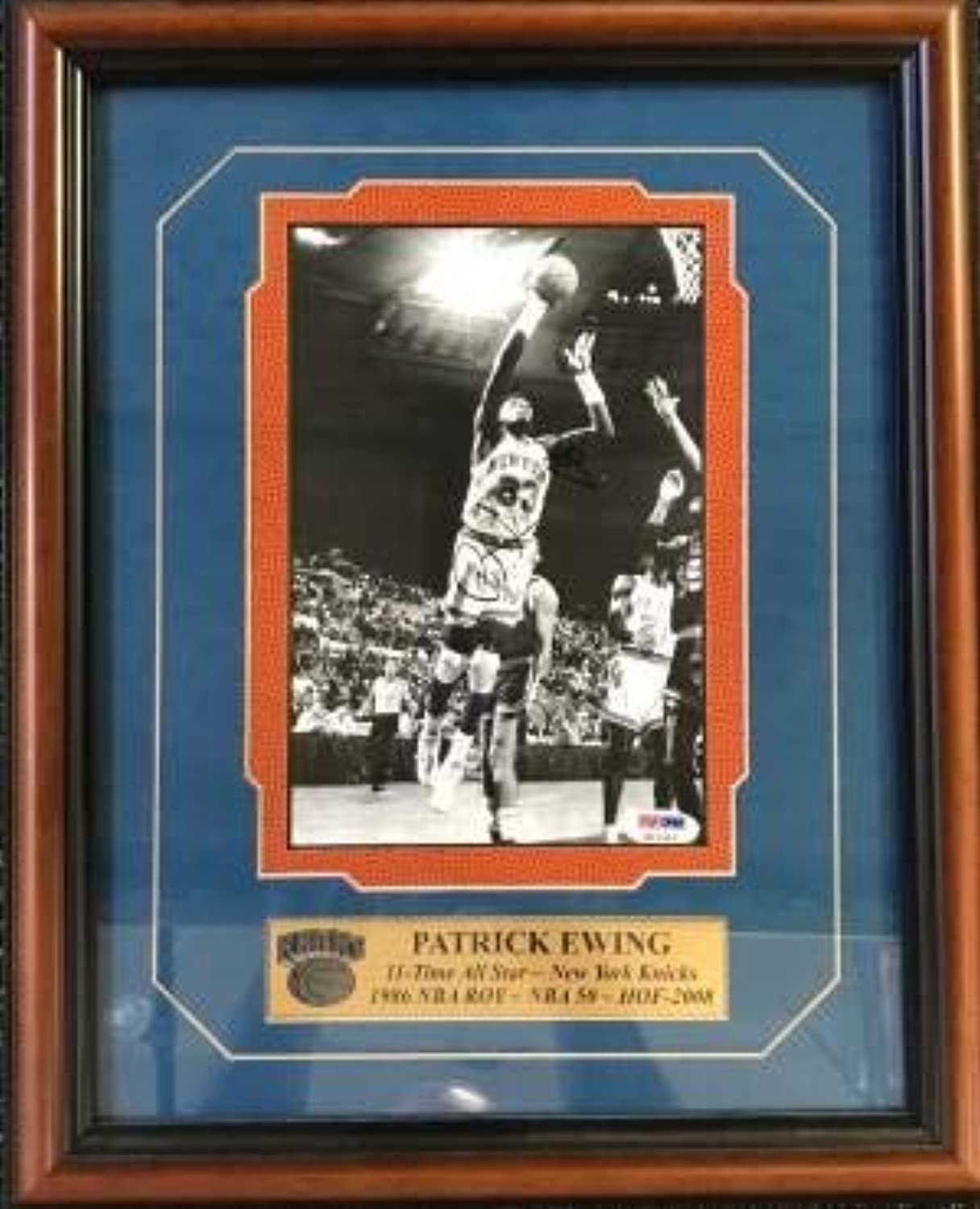 Patrick Ewing Autographed New York Knicks Basketball Framed 8x10 Photo (PSA DNA)  Autographed NBA Photos