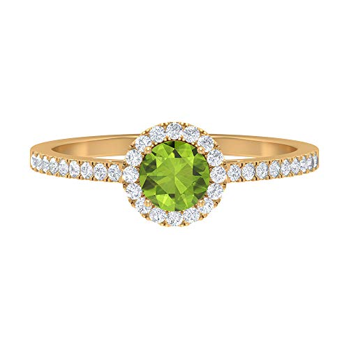 Anillo solitario, piedra redonda de 0,77 quilates, diamante HI-SI 5 mm, anillo de peridoto lateral, anillo de oro de halo, anillo de promesa, 10K Oro amarillo, Size:EU 61