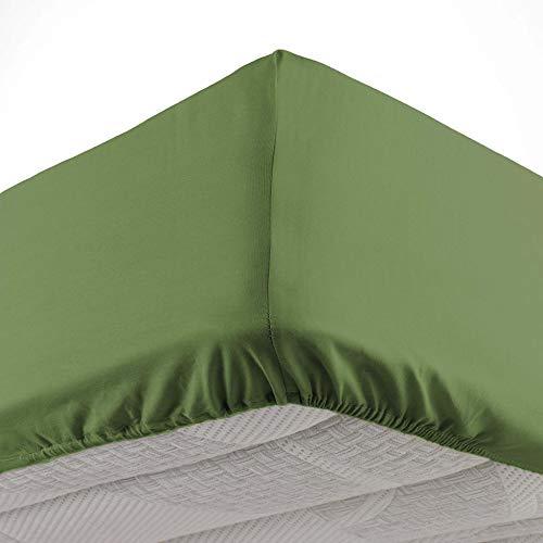 Douceur d'Intérieur - Sábana Bajera para 2 Personas (160 x 200 cm), Color Verde