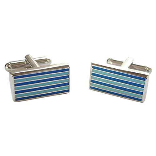 Tyler & Tyler. Boutons de Manchette. Pinstripe, Acier rhodié. Bleu, Motifs.