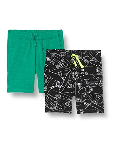 Spotted Zebra 2-Pack Jersey Knit Shorts, 2er-Pack Skateboard/Grün, US S (EU 116 cm)