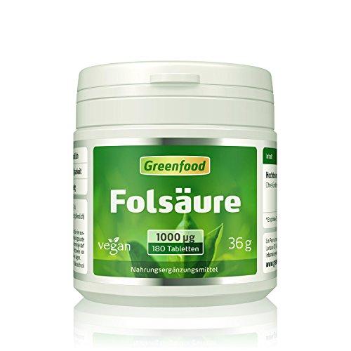 Folsäure, 1000 µg, extra hochdosiert, 180 Tabletten, vegan – für Blutbildung und Wundheilung, bei Kinderwunsch und Schwangerschaft, für Zellwachstum. OHNE künstliche Zusätze. Ohne Gentechnik. Vegan.