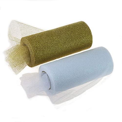 BUMSIEMO Rollo de cinta de tela de tul brillante con purpurina brillante, 6 pulgadas de ancho, 25, color dorado y blanco