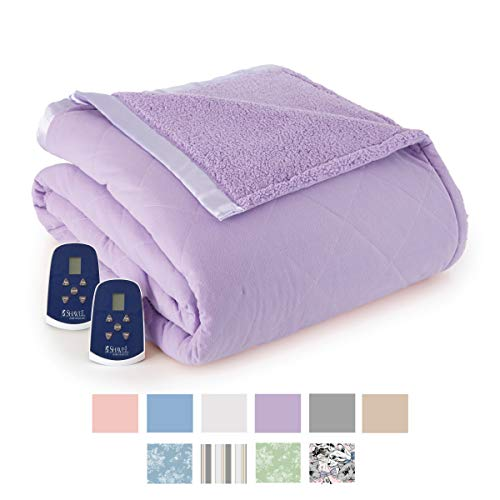 Thermee Micro Flannel Electric Blanket with Sherpa Back, King, Lilac