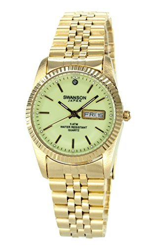 Swanson Men's Gold Day-Date Watch with Luminescent Night Glow Dial with Travel Case