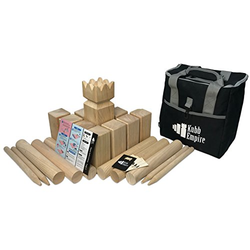 Kubb Empire Tournament Size Hardwood Kubb Yard Game Set Regulation Size with Backpack, Instruction Card, and Bottle Opener