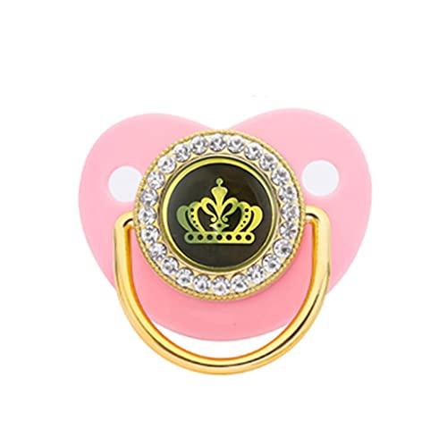 GLASSNOBLE Juego de cadena para chupete de destete de varios colores, se adapta a todos los bebés, corona dorada para niños y niñas con diamantes de imitación rosa