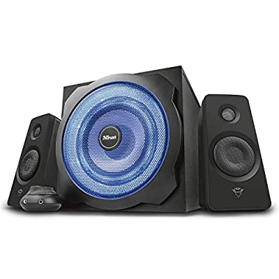 Trust Gaming GXT 628 Tytan 2.1 PC Gaming Speaker System with Subwoofer for Computer and Laptop, 120 W, UK Plug, LED Illuminated - Black/Blue by Trust