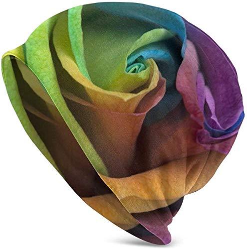 Mezcla de Color Rosa Diseño Abstracto Arte Pintura Pétalo Slouchy Beanie Hat Gorra de Calavera de Invierno para Hombres Mujeres Invierno Algodón Slouch Knitted Beanie Hat Hip Hop Headwear