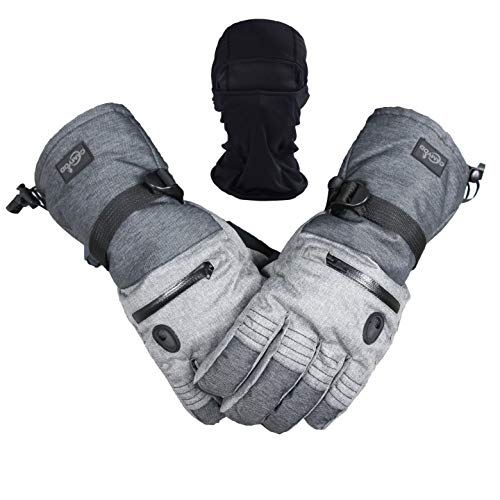 Men Ski Snowboard Gloves Waterproof Cold Winter Melange Glove and Balaclava Set (M)