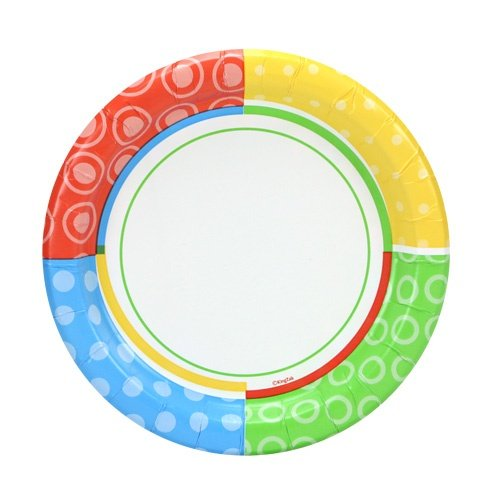 Nicole Home Collection Round 7'   Dazzling Dots Collection   Pack of 48 Paper Plate, 7 inch